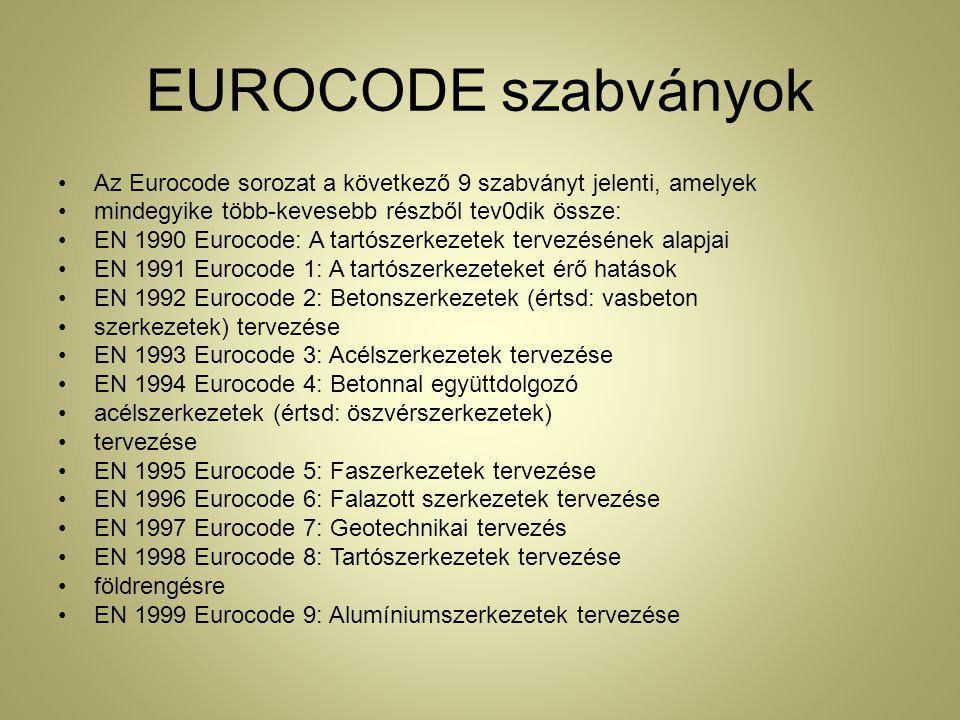 EUROCODE szabványok Az Eurocode sorozat a következő 9 szabványt jelenti, amelyek mindegyike több-kevesebb részből tev0dik össze: EN 1990 Eurocode: A tartószerkezetek tervezésének alapjai EN 1991 Eurocode 1: A tartószerkezeteket érő hatások EN 1992 Eurocode 2: Betonszerkezetek (értsd: vasbeton szerkezetek) tervezése EN 1993 Eurocode 3: Acélszerkezetek tervezése EN 1994 Eurocode 4: Betonnal együttdolgozó acélszerkezetek (értsd: öszvérszerkezetek) tervezése EN 1995 Eurocode 5: Faszerkezetek tervezése EN 1996 Eurocode 6: Falazott szerkezetek tervezése EN 1997 Eurocode 7: Geotechnikai tervezés EN 1998 Eurocode 8: Tartószerkezetek tervezése földrengésre EN 1999 Eurocode 9: Alumíniumszerkezetek tervezése