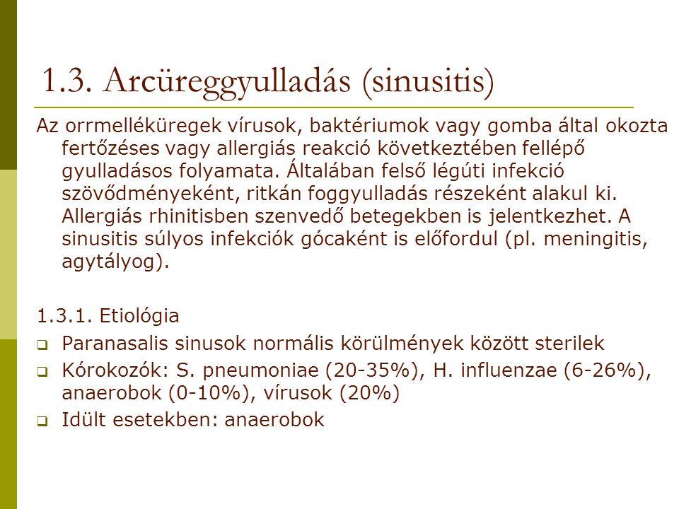 Az orrmelléküregek vírusok, baktériumok vagy gomba által okozta fertőzéses vagy allergiás reakció következtében fellépő gyulladásos folyamata. Általáb