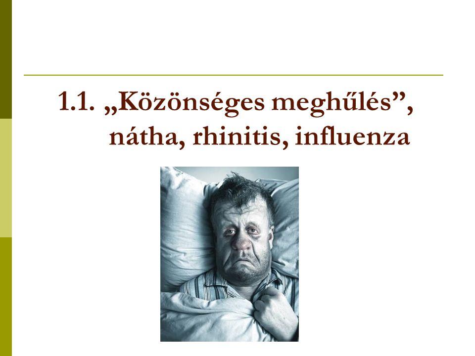 """1.1. """"Közönséges meghűlés"""", nátha, rhinitis, influenza"""