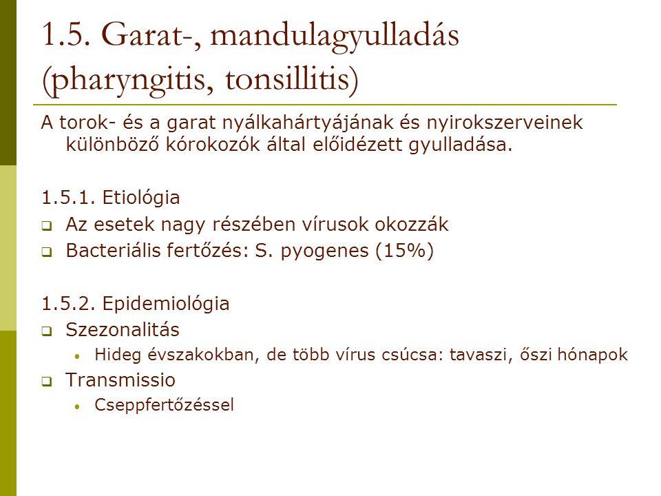 A torok- és a garat nyálkahártyájának és nyirokszerveinek különböző kórokozók által előidézett gyulladása. 1.5.1. Etiológia  Az esetek nagy részében