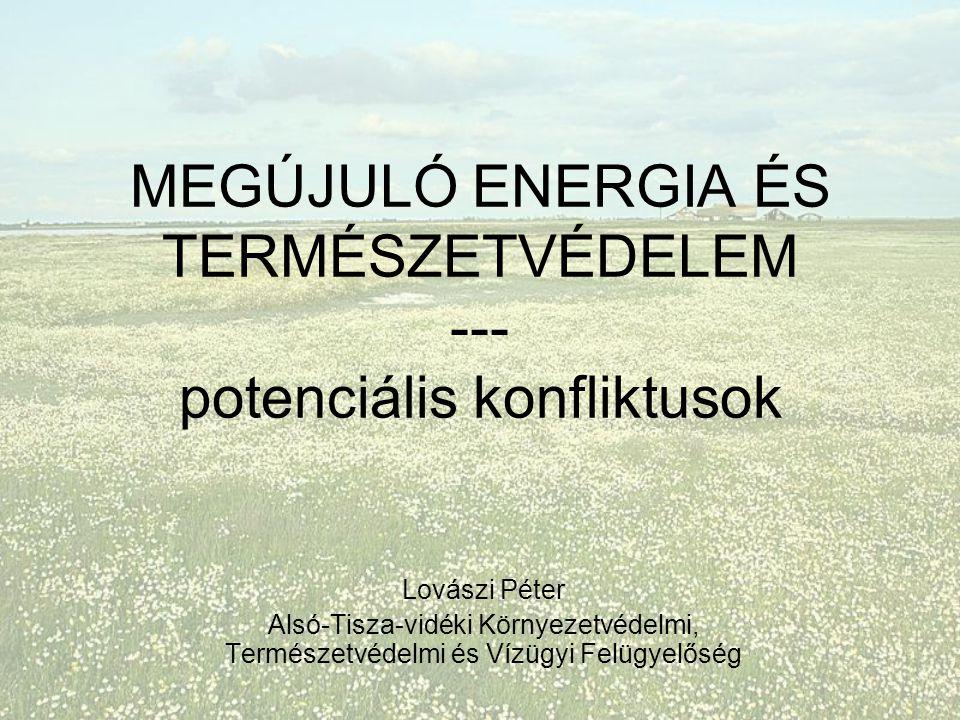 MEGÚJULÓ ENERGIA ÉS TERMÉSZETVÉDELEM --- potenciális konfliktusok Lovászi Péter Alsó-Tisza-vidéki Környezetvédelmi, Természetvédelmi és Vízügyi Felügyelőség