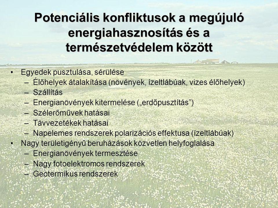"""Potenciális konfliktusok a megújuló energiahasznosítás és a természetvédelem között Egyedek pusztulása, sérülése –Élőhelyek átalakítása (növények, ízeltlábúak, vizes élőhelyek) –Szállítás –Energianövények kitermelése (""""erdőpusztítás ) –Szélerőművek hatásai –Távvezetékek hatásai –Napelemes rendszerek polarizációs effektusa (ízeltlábúak) Nagy területigényű beruházások közvetlen helyfoglalása –Energianövények termesztése –Nagy fotoelektromos rendszerek –Geotermikus rendszerek"""