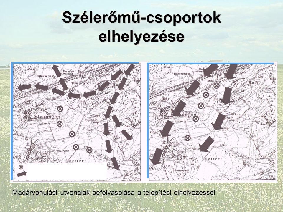 Szélerőmű-csoportok elhelyezése Madárvonulási útvonalak befolyásolása a telepítési elhelyezéssel