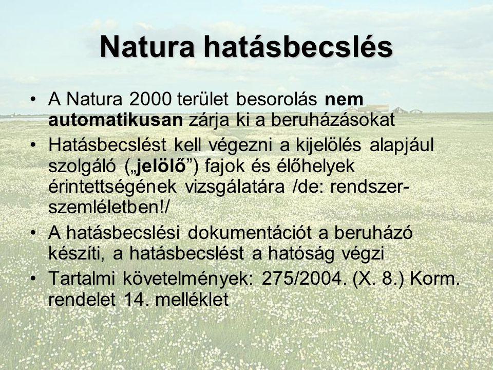 """Natura hatásbecslés A Natura 2000 terület besorolás nem automatikusan zárja ki a beruházásokat Hatásbecslést kell végezni a kijelölés alapjául szolgáló (""""jelölő ) fajok és élőhelyek érintettségének vizsgálatára /de: rendszer- szemléletben!/ A hatásbecslési dokumentációt a beruházó készíti, a hatásbecslést a hatóság végzi Tartalmi követelmények: 275/2004."""