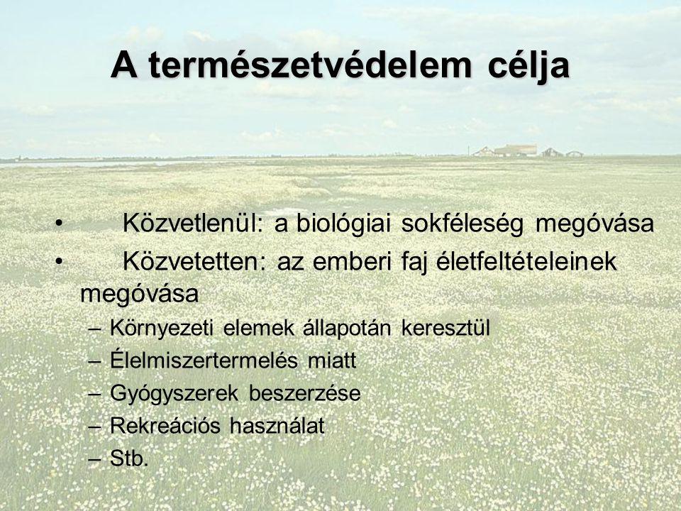 Vezérelvek és etikai axiómák a természetvédelmi biológiában A fajok és életközösségek természetes sokféleségét meg kell őrizni /biofília/ A populációk, fajok idő előtt – ember okozta – kipusztulását meg kell akadályozni.