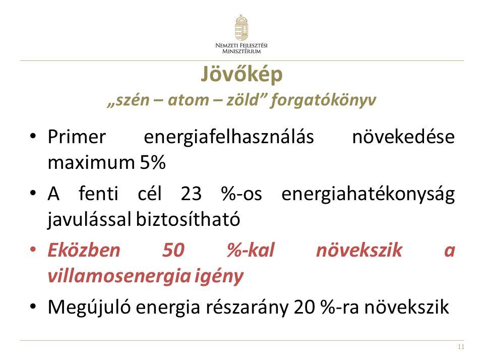 """11 Jövőkép """"szén – atom – zöld"""" forgatókönyv Primer energiafelhasználás növekedése maximum 5% A fenti cél 23 %-os energiahatékonyság javulással biztos"""