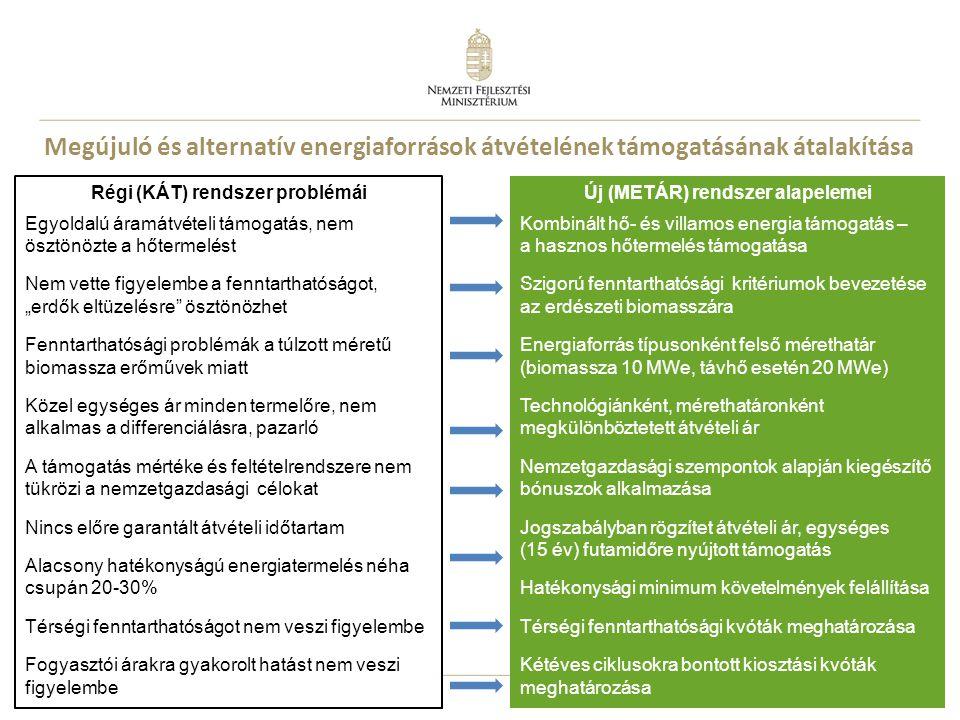 15 Megújuló és alternatív energiaforrások átvételének támogatásának átalakítása Régi (KÁT) rendszer problémái Egyoldalú áramátvételi támogatás, nem ös