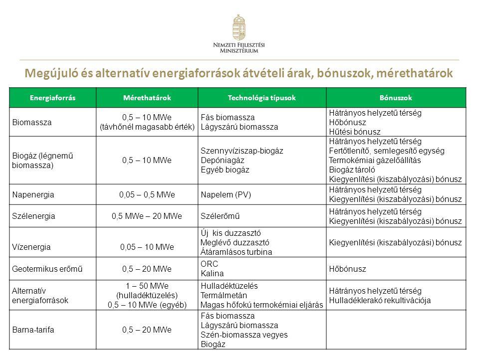 20 Megújuló és alternatív energiaforrások átvételi árak, bónuszok, mérethatárok EnergiaforrásMérethatárokTechnológia típusokBónuszok Biomassza 0,5 – 1