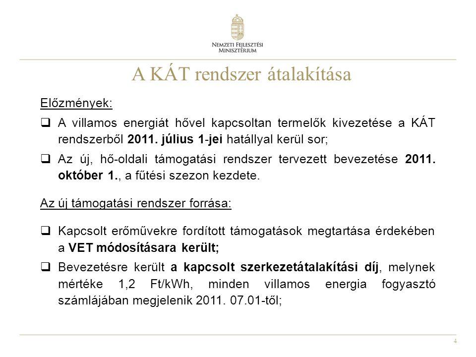 4 A KÁT rendszer átalakítása Előzmények:  A villamos energiát hővel kapcsoltan termelők kivezetése a KÁT rendszerből 2011. július 1-jei hatállyal ker