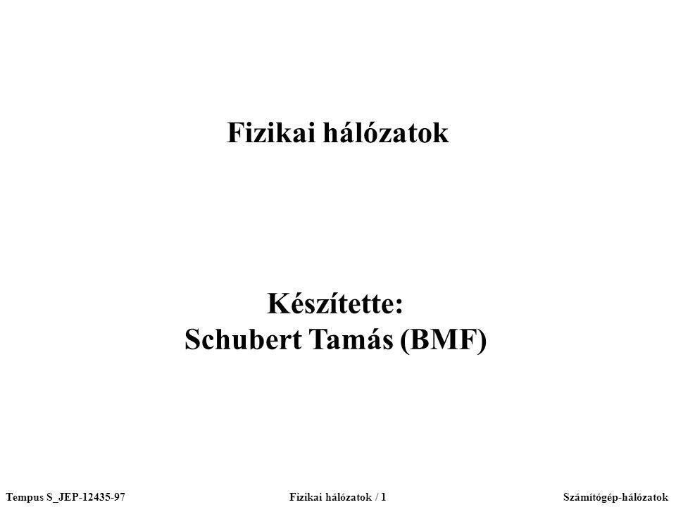 Tempus S_JEP-12435-97Fizikai hálózatok / 1Számítógép-hálózatok Készítette: Schubert Tamás (BMF) Fizikai hálózatok