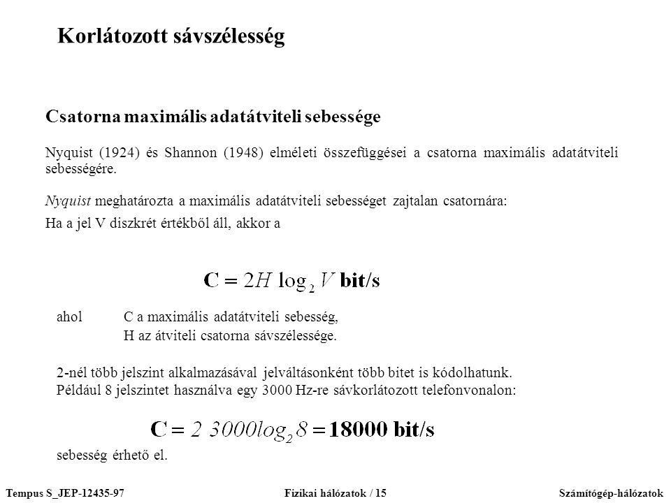 Tempus S_JEP-12435-97Fizikai hálózatok / 15Számítógép-hálózatok Csatorna maximális adatátviteli sebessége Nyquist (1924) és Shannon (1948) elméleti összefüggései a csatorna maximális adatátviteli sebességére.