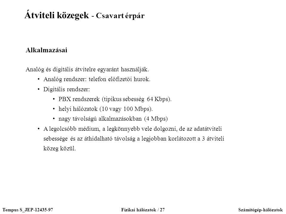 Tempus S_JEP-12435-97Fizikai hálózatok / 27Számítógép-hálózatok Alkalmazásai Analóg és digitális átvitelre egyaránt használják. Analóg rendszer: telef