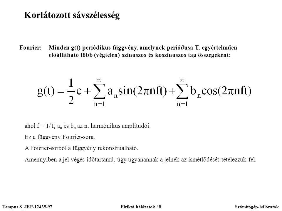 Tempus S_JEP-12435-97Fizikai hálózatok / 8Számítógép-hálózatok Fourier:Minden g(t) periódikus függvény, amelynek periódusa T, egyértelműen előállítható több (végtelen) szinuszos és koszinuszos tag összegeként: ahol f = 1/T, a n és b n az n.
