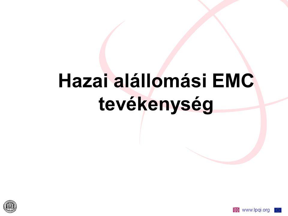 www.lpqi.org Alállomások EMC vizsgálata JM kábelek árnyékolás vizsgálata Vizsgálati lépések:  Földelőháló FN rövidzárlati áraminjektálások meghatározása  Földelőháló potenciál vizsgálat, (különböző FN zárlati áraminjektálási helyekre)  JM kábel-árnyékolások megfelelőségének ellenőrzése viszonylatonként (közös-módusú feszültség és árnyékolás áram alapján)