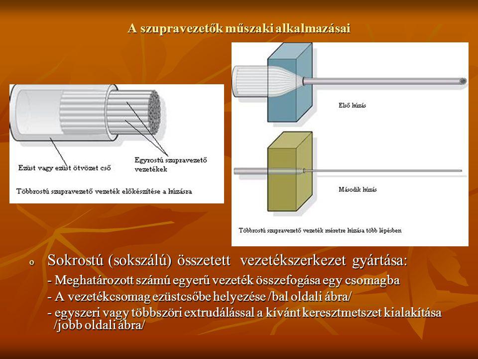 A szupravezetők műszaki alkalmazásai o Sokrostú (sokszálú) összetett vezetékszerkezet gyártása: - Meghatározott számú egyerű vezeték összefogása egy c