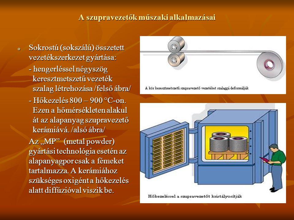 A szupravezetők műszaki alkalmazásai o Sokrostú (sokszálú) összetett vezetékszerkezet gyártása: - hengerléssel négyszög keresztmetszetű vezeték szalag