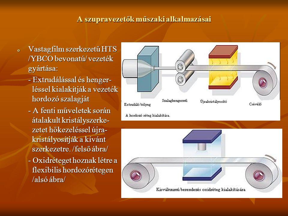 A szupravezetők műszaki alkalmazásai o Vastagfilm szerkezetű HTS /YBCO bevonatú/ vezeték gyártása: - Extrudálással és henger- léssel kialakítják a vez