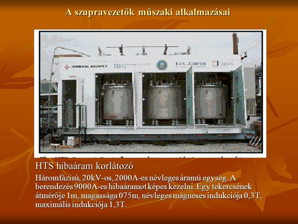 A szupravezetők műszaki alkalmazásai HTS hibaáram korlátozó Háromfázisú, 20kV-os, 2000A-es névleges áramú egység. A berendezés 9000A-es hibaáramot kép
