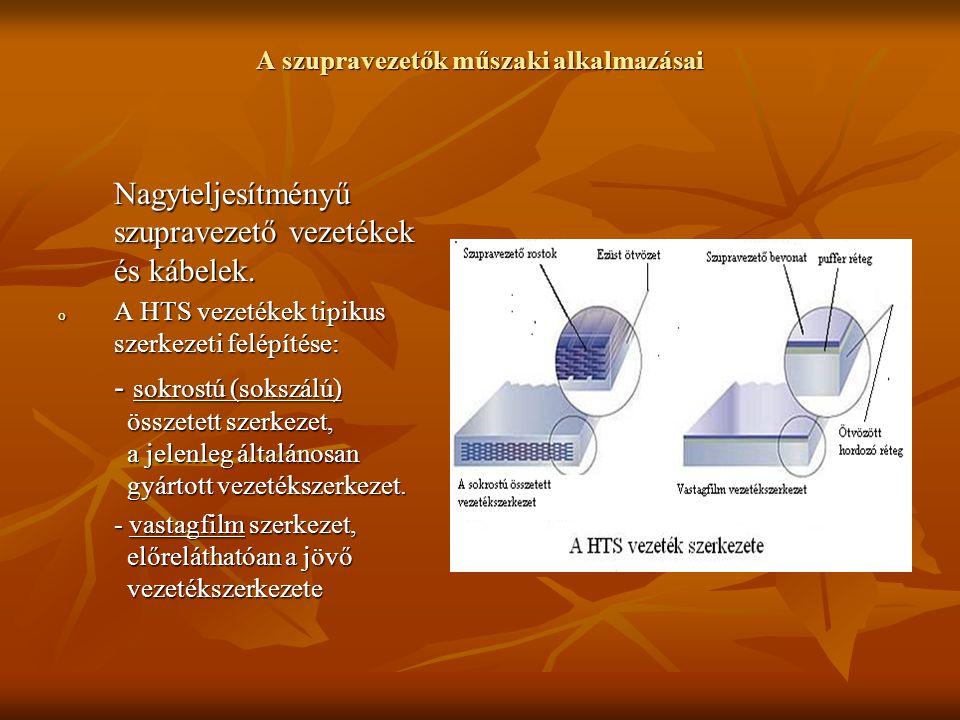 A szupravezetők műszaki alkalmazásai Nagyteljesítményű szupravezető vezetékek és kábelek o Sokrostú (sokszálú) összetett vezetékszerkezet gyártása: OPIT – Oxid Powder In Tube- gyártási technológia lépései: OPIT – Oxid Powder In Tube- gyártási technológia lépései: - oxidokat tartalmazó alapanyagok keverése - oxidokat tartalmazó alapanyagok keverése - nagyon finom porrá (púder) őrlése - az előkészített alapanyag por ezüstcsőbe töltése /felső ábra/ - a púderrel töltött ezüstcső extrudá- lása /alsó ábra/