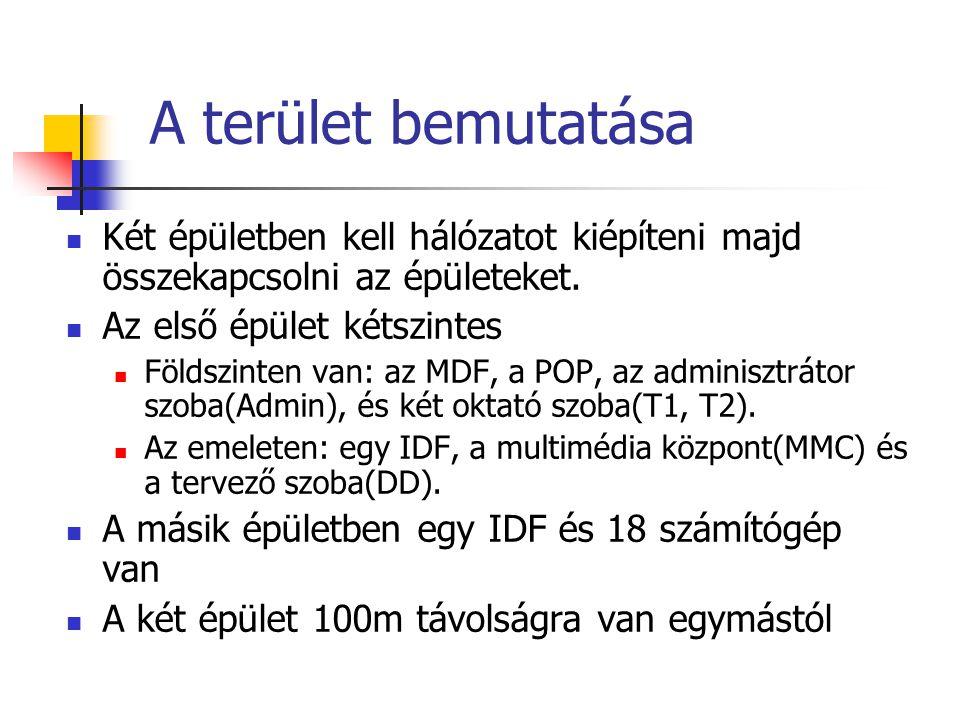 Technikai infó.: általános Az épületen belül mindenhol ötös kategóriájú UTP kábelt használunk Az optikai kábel: egymódosú A hálózat típusa: ethernet Hálózati topológia: kiterjesztett csillag A hálózat sebessége: 100Mbit/sec (ezt kell támogatni minden hálózati eszköznek) A számítógépek Internet Protocol-t (IP-t) használnak a kommunikációhoz Az MDF és az IDFek között gerinckábelezést alkalmazunk A két épület között egymódosú optikai kábelt használunk Minden IDF-ben és az MDF-ben van patch panel és fizikailag a bejövő UTP kábelek mindig oda vannak kötve majd onnan tovább a switchre vagy a routerre.