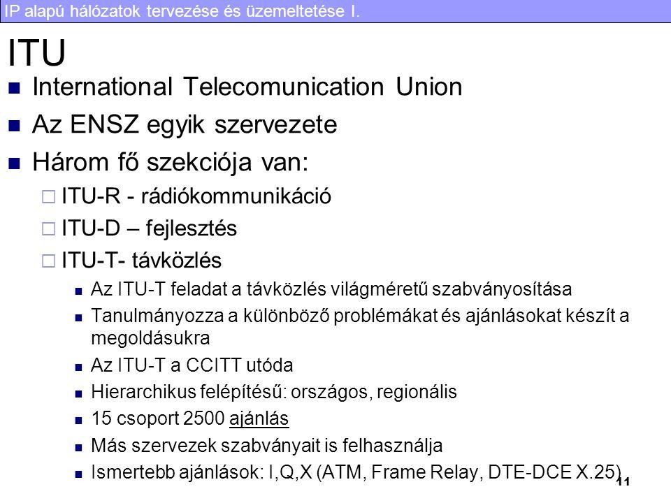 IP alapú hálózatok tervezése és üzemeltetése I. 11 ITU International Telecomunication Union Az ENSZ egyik szervezete Három fő szekciója van:  ITU-R -