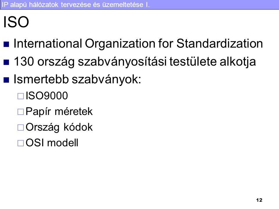 IP alapú hálózatok tervezése és üzemeltetése I. 12 ISO International Organization for Standardization 130 ország szabványosítási testülete alkotja Ism