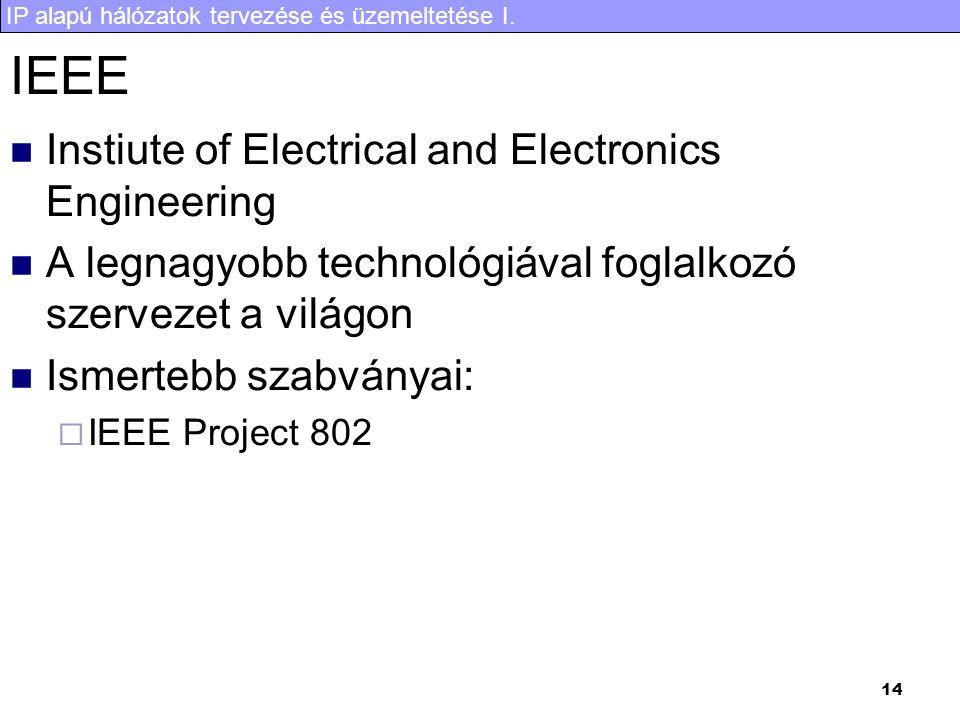 IP alapú hálózatok tervezése és üzemeltetése I. 14 IEEE Instiute of Electrical and Electronics Engineering A legnagyobb technológiával foglalkozó szer