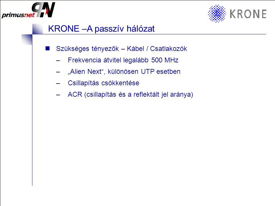 """KRONE 3/98 Folie 8 KRONE –A passzív hálózat Szükséges tényezők – Kábel / Csatlakozók –Frekvencia átvitel legalább 500 MHz –""""Alien Next , különösen UTP esetben –Csillapítás csökkentése –ACR (csillapítás és a reflektált jel aránya)"""