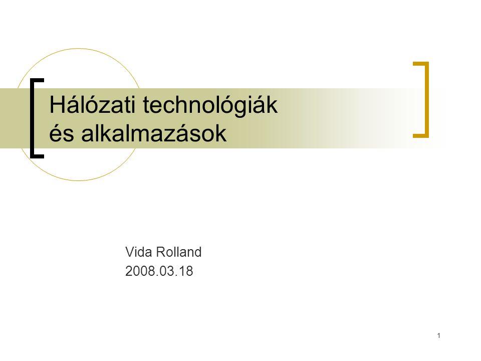 1 Hálózati technológiák és alkalmazások Vida Rolland 2008.03.18