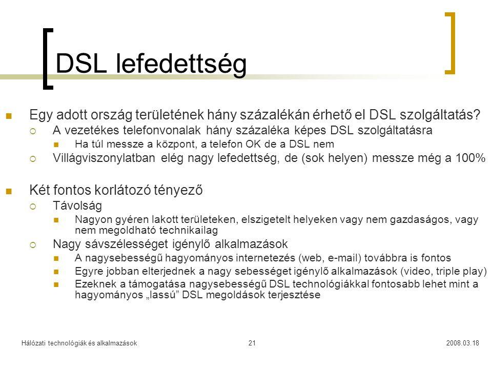 Hálózati technológiák és alkalmazások2008.03.1821 DSL lefedettség Egy adott ország területének hány százalékán érhető el DSL szolgáltatás.