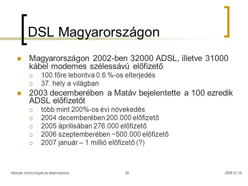 Hálózati technológiák és alkalmazások2008.03.1826 DSL Magyarországon Magyarországon 2002-ben 32000 ADSL, illetve 31000 kábel modemes szélessávú előfizető  100 főre lebontva 0.6 %-os elterjedés  37.