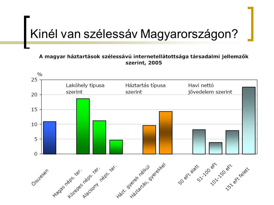 Hálózati technológiák és alkalmazások2008.03.1833 Kinél van szélessáv Magyarországon
