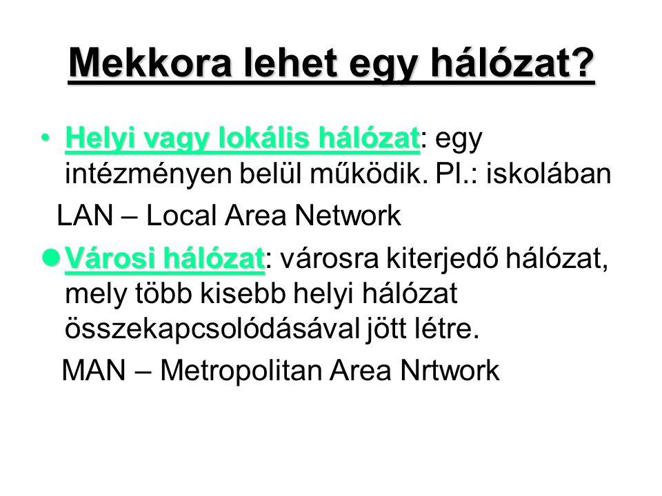 Kiterjedt hálózat:Kiterjedt hálózat: országokra, földrészekre kiterjedő összekapcsolódásával jön létre.