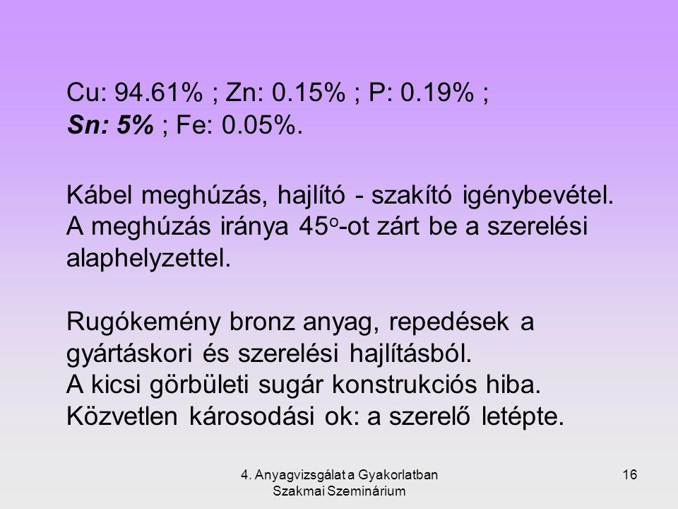 4. Anyagvizsgálat a Gyakorlatban Szakmai Szeminárium 16 Cu: 94.61% ; Zn: 0.15% ; P: 0.19% ; Sn: 5% ; Fe: 0.05%. Kábel meghúzás, hajlító - szakító igén