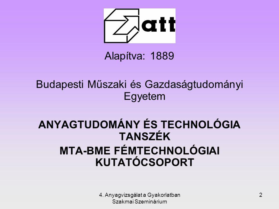 4. Anyagvizsgálat a Gyakorlatban Szakmai Szeminárium 2 Alapítva: 1889 Budapesti Műszaki és Gazdaságtudományi Egyetem ANYAGTUDOMÁNY ÉS TECHNOLÓGIA TANS