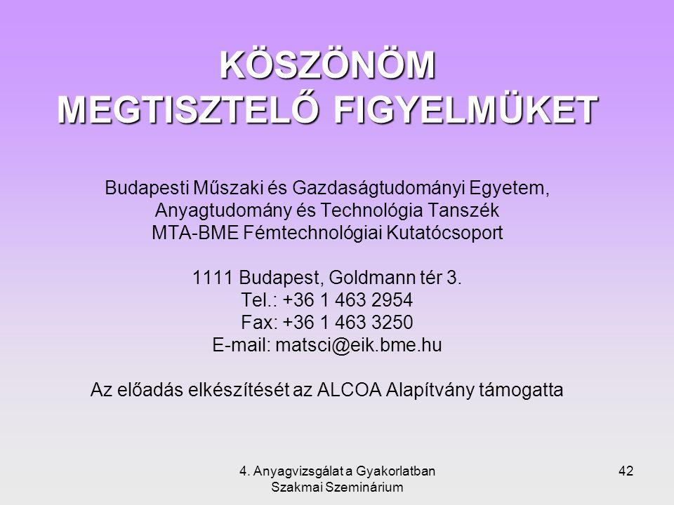 4. Anyagvizsgálat a Gyakorlatban Szakmai Szeminárium 42 KÖSZÖNÖM MEGTISZTELŐ FIGYELMÜKET KÖSZÖNÖM MEGTISZTELŐ FIGYELMÜKET Budapesti Műszaki és Gazdasá