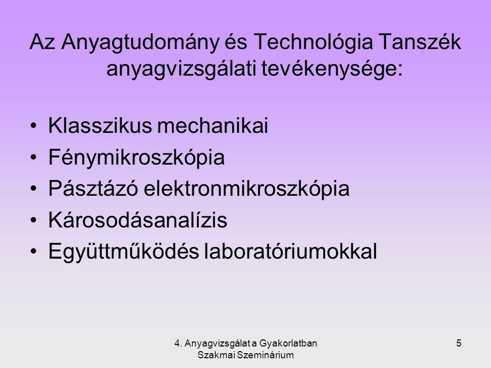 5 Az Anyagtudomány és Technológia Tanszék anyagvizsgálati tevékenysége: Klasszikus mechanikai Fénymikroszkópia Pásztázó elektronmikroszkópia Károsodás