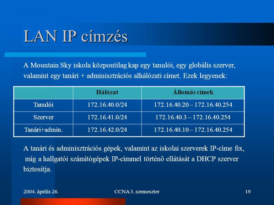 2004. április 26.CCNA 3. szemeszter19 LAN IP címzés A Mountain Sky iskola központilag kap egy tanulói, egy globális szerver, valamint egy tanári + adm