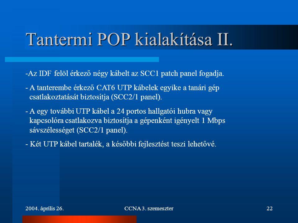 2004. április 26.CCNA 3. szemeszter22 Tantermi POP kialakítása II. -Az IDF felöl érkező négy kábelt az SCC1 patch panel fogadja. - A tanterembe érkező