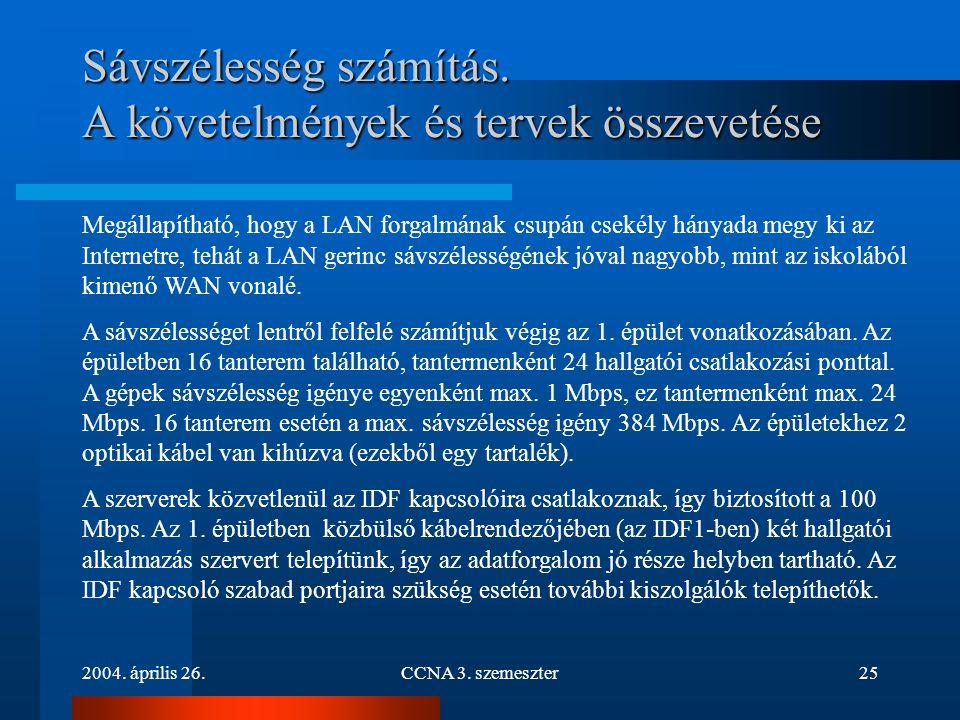 2004. április 26.CCNA 3. szemeszter25 Sávszélesség számítás. A követelmények és tervek összevetése Megállapítható, hogy a LAN forgalmának csupán cseké