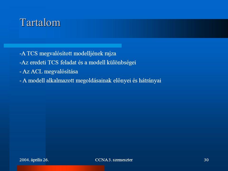 2004. április 26.CCNA 3. szemeszter30 Tartalom -A TCS megvalósított modelljének rajza -Az eredeti TCS feladat és a modell különbségei - Az ACL megvaló
