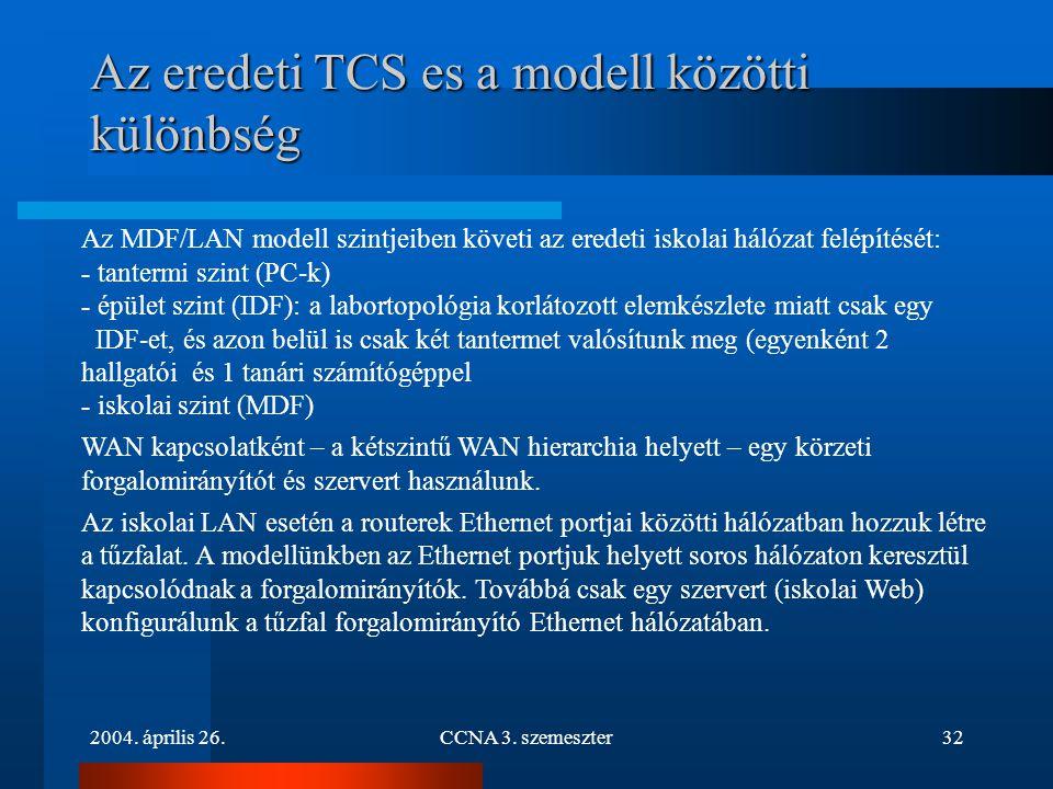 2004. április 26.CCNA 3. szemeszter32 Az eredeti TCS es a modell közötti különbség Az MDF/LAN modell szintjeiben követi az eredeti iskolai hálózat fel