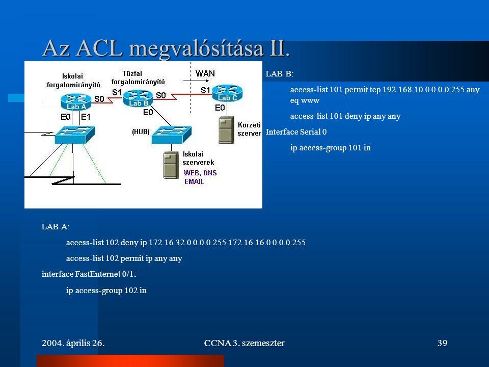 2004. április 26.CCNA 3. szemeszter39 Az ACL megvalósítása II. LAB A: access-list 102 deny ip 172.16.32.0 0.0.0.255 172.16.16.0 0.0.0.255 access-list