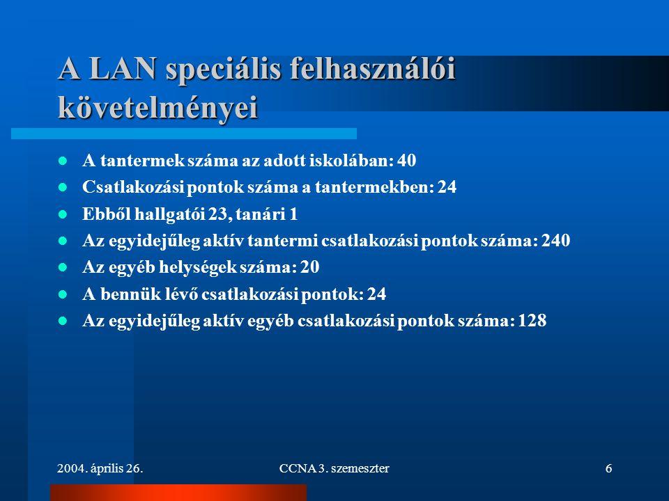 2004. április 26.CCNA 3. szemeszter6 A LAN speciális felhasználói követelményei A tantermek száma az adott iskolában: 40 Csatlakozási pontok száma a t