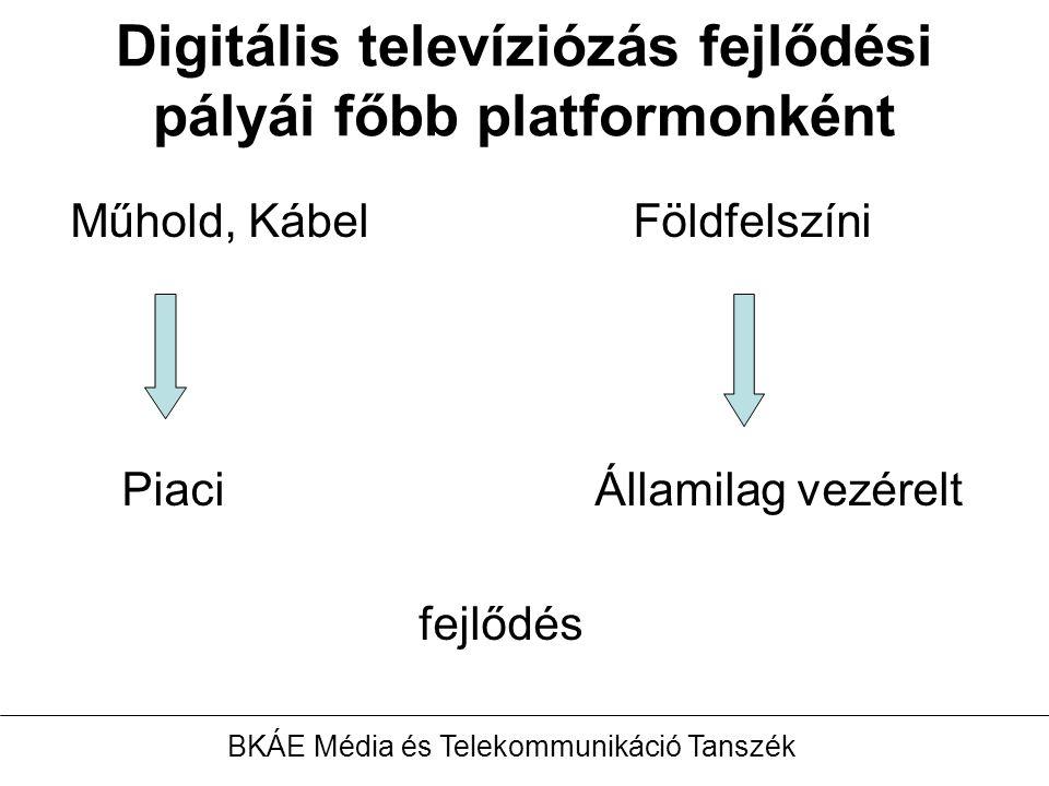 Digitális televíziózás fejlődési pályái főbb platformonként Műhold, Kábel Földfelszíni PiaciÁllamilag vezérelt fejlődés BKÁE Média és Telekommunikáció Tanszék