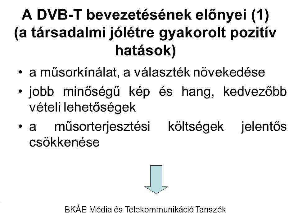 A DVB-T bevezetésének előnyei (1) (a társadalmi jólétre gyakorolt pozitív hatások) a műsorkínálat, a választék növekedése jobb minőségű kép és hang, kedvezőbb vételi lehetőségek a műsorterjesztési költségek jelentős csökkenése BKÁE Média és Telekommunikáció Tanszék