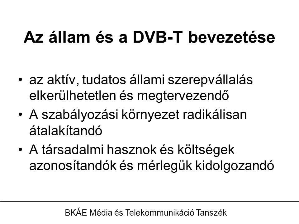 Az állam és a DVB-T bevezetése az aktív, tudatos állami szerepvállalás elkerülhetetlen és megtervezendő A szabályozási környezet radikálisan átalakítandó A társadalmi hasznok és költségek azonosítandók és mérlegük kidolgozandó BKÁE Média és Telekommunikáció Tanszék