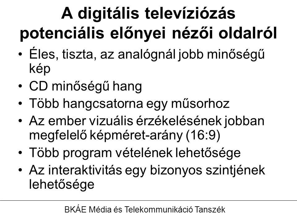 A digitális televíziózás potenciális előnyei nézői oldalról Éles, tiszta, az analógnál jobb minőségű kép CD minőségű hang Több hangcsatorna egy műsorhoz Az ember vizuális érzékelésének jobban megfelelő képméret-arány (16:9) Több program vételének lehetősége Az interaktivitás egy bizonyos szintjének lehetősége BKÁE Média és Telekommunikáció Tanszék