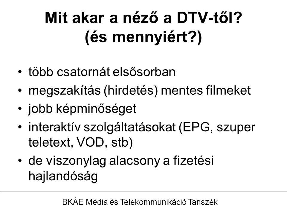 Az analóg műsorszóró adóhálózat üzemeltetője érdekelt a DVB-T elterjesztésében A DTV platformok, de különösen a DVB-T szerepe az Információs Társadalom céljainak elérésében marginális BKÁE Média és Telekommunikáció Tanszék