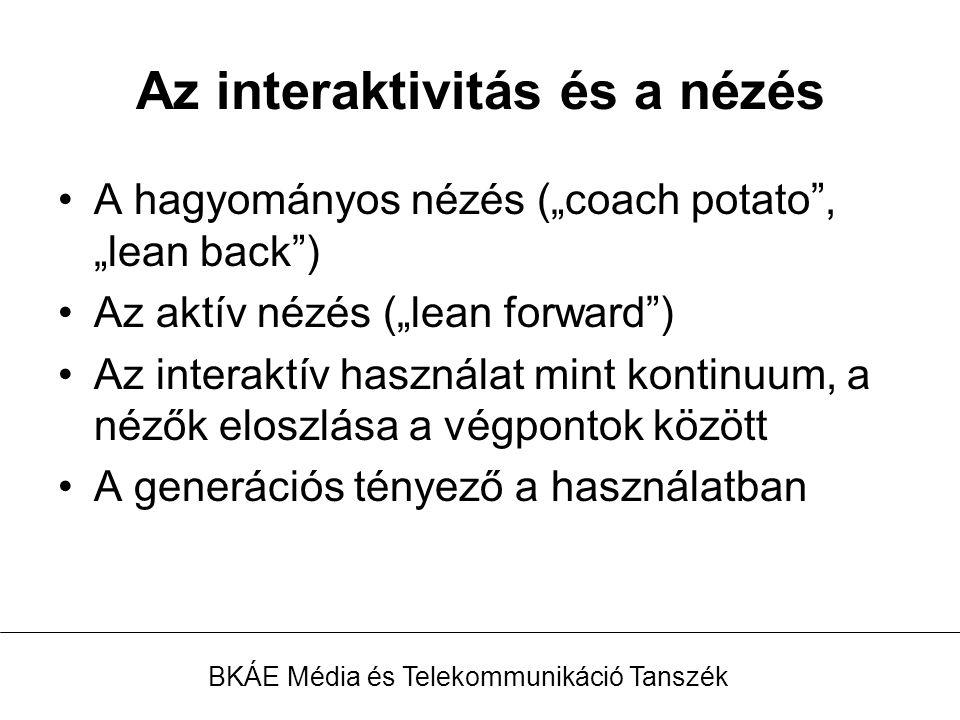 """Az interaktivitás és a nézés A hagyományos nézés (""""coach potato , """"lean back ) Az aktív nézés (""""lean forward ) Az interaktív használat mint kontinuum, a nézők eloszlása a végpontok között A generációs tényező a használatban BKÁE Média és Telekommunikáció Tanszék"""